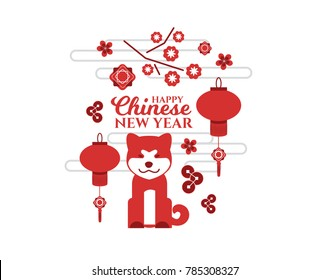 vector elements. year Chinese calendar. Happy Chinese New Year 2018. Graphic dog as symbol of year and graphic elements