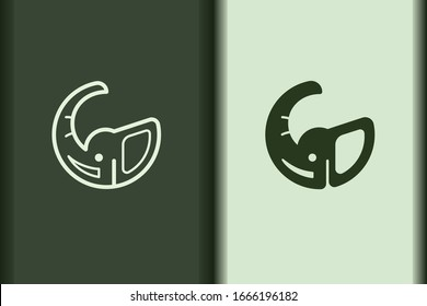 Vector of elephant logo design linear and silhouette icon minimal style. Creative simple animal on green background for business artwork. Modern flat icon elephant head shape graphic illustration.