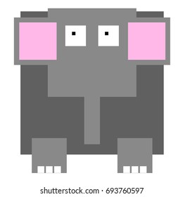 Vector elephant are made of squares and rectangles