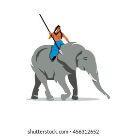 Vector Elephant with mahout Cartoon Illustration. A man with a spear on horseback on a large animal. Unusual Logo template isolated on a white background