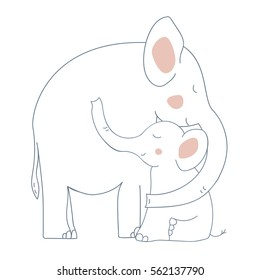 Vector elephant - mother and child