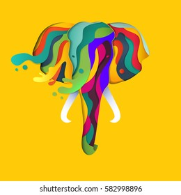 Vector elephant in paper cut style. Abstract geometric elephant with splashes of color. Background element for Happy Holi traditional indian festival.