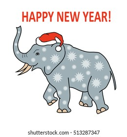 vector of elephant in santa Claus hat