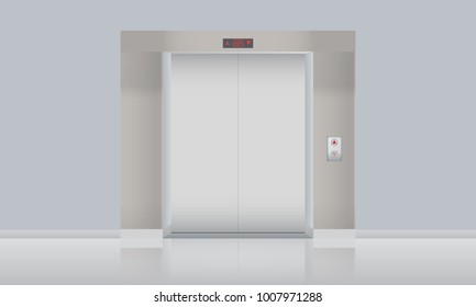 Vector Elevator with closed doors, blank mockup. Vector illustartion