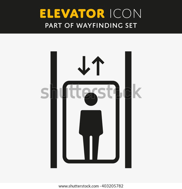 Vector Elevator Icon. Lift sign with man. Up and Down symbol.