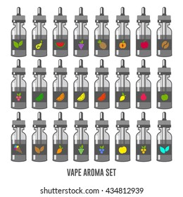 Vector E-Liquid illustration of different flavor. Icons of E-Liquid. The taste of the electronic cigarette. Bottle collection potion silhouette. Juice for vape smoking. Vapor vaping.