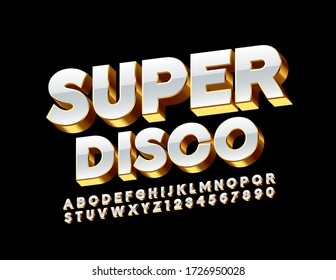 Vector elite banner Super Disco. Golden and White Alphabet Letters and Numbers 3D Luxury Font
