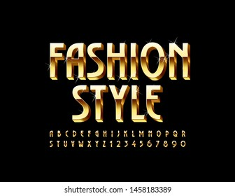 Vector elite emblem Fashion Style with elegant Font. Golden Uppercase Alphabet. Chic Letters and Numbers set