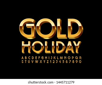 Vector elite emblem Gold Holiday. Luxury Uppercase Font. 3D chic Alphabet Letters and Numbers