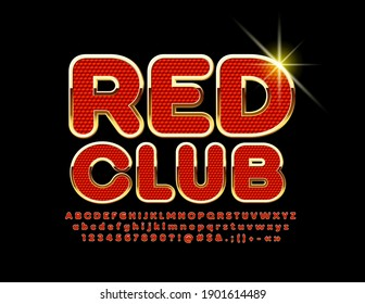 Vector elite emblem Red Club. Premium style Font. Luxury set of Alphabet Letters and Numbers