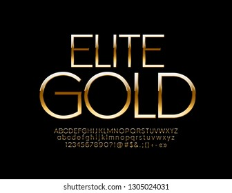 Vector Elite Golden Font. Set of Elegant glossy Alphabet Letters, Numbers and Symbols.