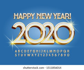 Vector elite greeting card Happy New Year 2020! Elegant Uppercase Font. 3D White and Gold Alphabet Letters and Numbers