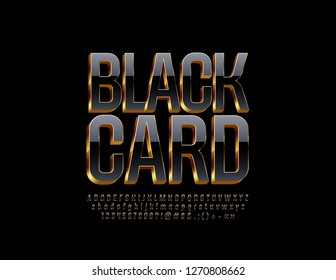 Vector elite Logo Black Card. Stylish Alphabet Letters, Numbers and Symbols. Luxury 3D Font.