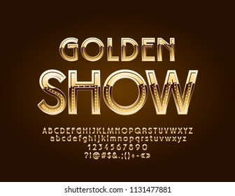 Vector elite logo Golden Show. Chic texture Font. Luxury Alphabet Letters, Numbers and Symbols