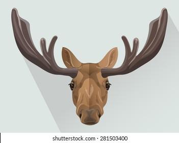 Vector elk portrait