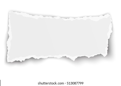 Vector elongate paper tear with soft shadow isolated on white