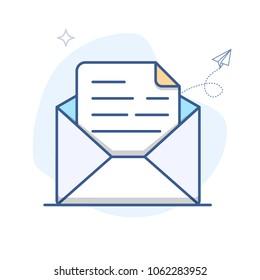 Vector Email Line Icon. E-mail envelope outline vector illustration