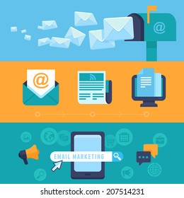 Vector email marketing concepts - flat trendy icons - newsletter and subscription - bright illustrations for horizontal banners or headers