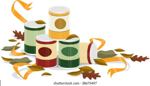 a vector embellishment of canned goods and fall leaves