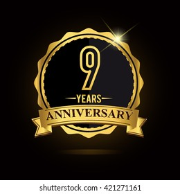 vector emblem 9th anniversary logo with ribbon golden colored and shiny badge