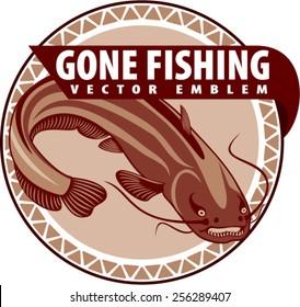 vector emblem with big river catfish