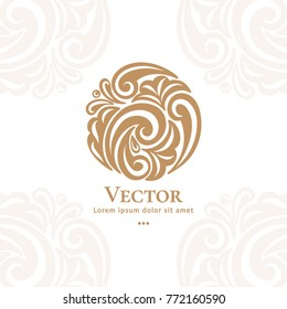 Vector emblem. Can be used for organic products, jewelry, beauty and fashion industry. Great for logo, invitation, flyer, menu, brochure, business card, banner, background, or any desired idea.