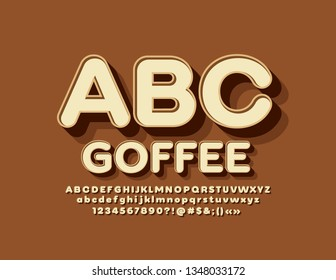 Vector emblem Coffee with 3D trendy Alphabet Letters, Numbers and Symbols set. Font for Marketing