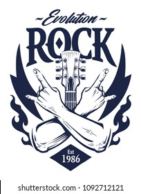 Vector emblem with crossed hands sign rock n roll gesture, guitar neck and flames. Monochrome rock emblem template.