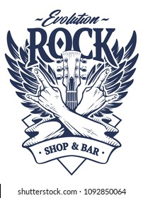 Vector emblem with crossed hands sign rock n roll gesture, guitar neck and wings. Monochrome rock emblem template.