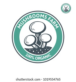 Vector emblem design champignon organic farm. Mushroom farm logo template is an excellent logo template highly suitable for company