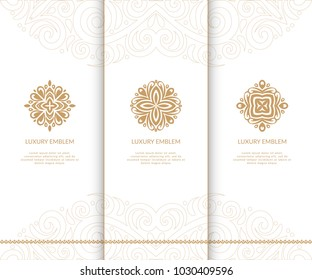 Vector emblem. Elegant, classic elements. Can be used for jewelry, beauty and fashion industry. Great for logo, monogram, invitation, flyer, menu, brochure, postcard, background, or any desired idea.