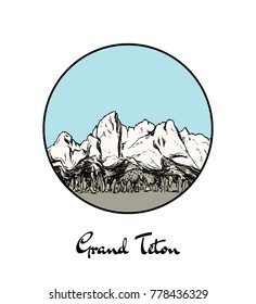 Vector emblem with hand drawn North American mountain Grand Teton. Ink drawing, graphic style. Perfect for travel, sport or spiritual designs.