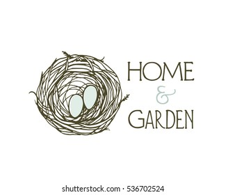 Vector emblem of home and garden decor business with hand drawn birds nest. Beautiful design elements.