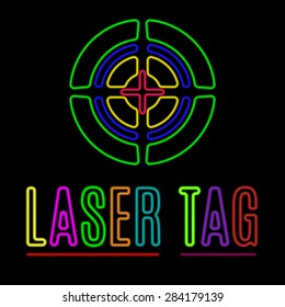 Vector emblem of laser tag in neon style.