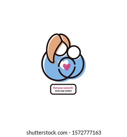 vector emblem of a mother hugging the toddler, pregnancy, baby care,  gynecologist clinic logo design