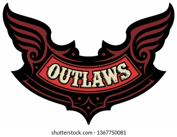 Vector emblem, patch with tribal ornaments and text outlaw. Vector biker logo design concept.