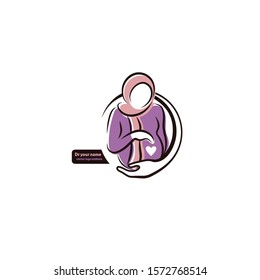 vector emblem of a pregnant mother , baby is inside the belly, gynecologist clinic logo design
