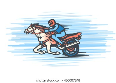 Vector emblem with a rider on a horse, motorbike and circular inscription. Eps-8