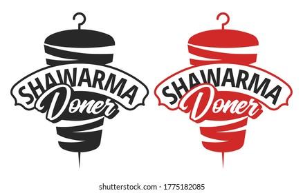 Vector emblem for shawarma cafe. Doner kebab logo template. EPS10 vector illustration.