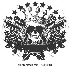 Vector emblem with a skull and pistols black