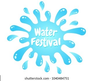 Vector emblem for Songkran festival in Thailand. Logo for water festival with water drops.