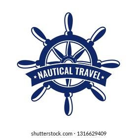 Vector emblem with steering wheel. Design element of badge with caption Nautical Travel. Logo illustration for signboard, posters or decoration of nautical tours and travel cruises