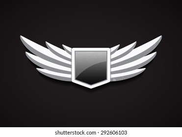 Vector Emblem with Stone Wings and Glossy Shield with Glass. 3D Logo Symbol. Safety Icon.