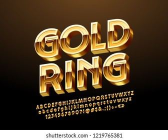 Vector Emblem with text Gold Ring. Golden rotated Alphabet Letters, Numbers and Symbols.