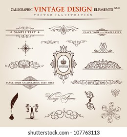 Vector emblems set. Calligraphic vintage elements and page decoration premium quality collection. floral design