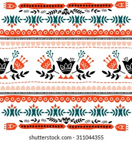 Vector embroidered ethnic background.  Hand drawing. Seamless for fabric design, gift wrapping paper and printing and web projects.