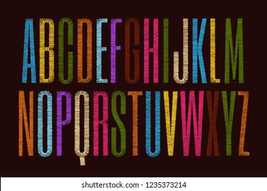 Vector embroidery alphabet. Font letters stitched with hand drawn thread.