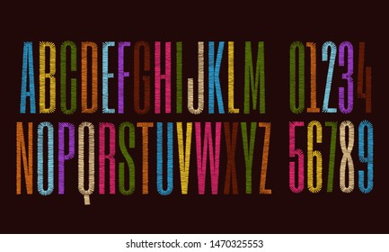 Vector embroidery alphabet with numbers. Font letters stitched with hand drawn thread.