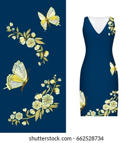 Vector embroidery, floral pattern of butterfly, leaves and rose on classic women's dress mockup. Vector illustration. Hand-drawn ornate pattern. Gold on dark blue.