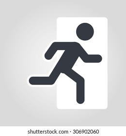 vector emergency exit icon. Modern graphic element